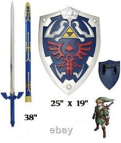 Legend of Zelda Twilight Princess Link's Master sword and shield set Real Steel
