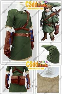 Legend of zelda twilight princess link cosplay costume outfit green stock